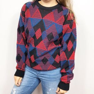VINTAGE Red & Blue Funky Geometric Grandpa Sweater